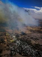 The Sampson Flat fire approaches Birdwood (from South Coast Helicopters chopper). Picture: Dylan Coker