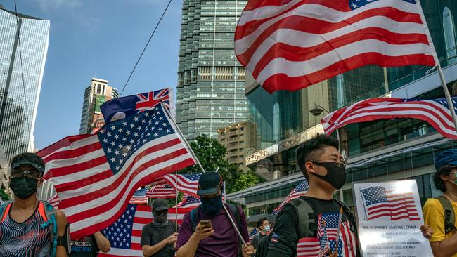 For the second week in a row, some marchers carried the US flag and called for President Donald Trump to 'liberate' Hong Kong.