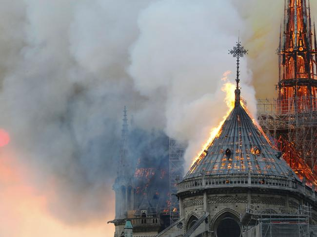 Flames burn the roof of the Notre-Dame Cathedral in Paris. Picture: AFP