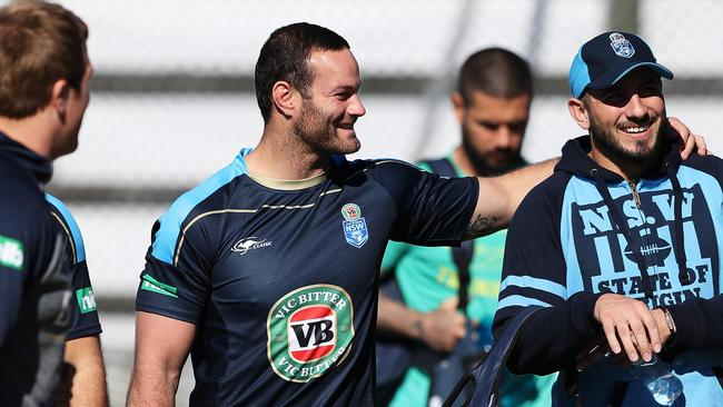 NSW's Boyd Cordner and Jack Bird during NSW State of Origin training. Picture: Brett Costello