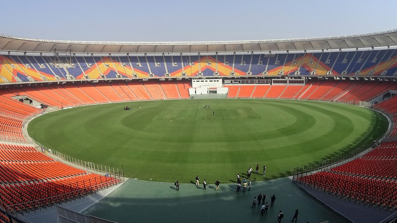 The Sardar Patel Stadium, the world's biggest cricket stadium, in Ahmedabad. (Photo by SAM PANTHAKY / AFP)