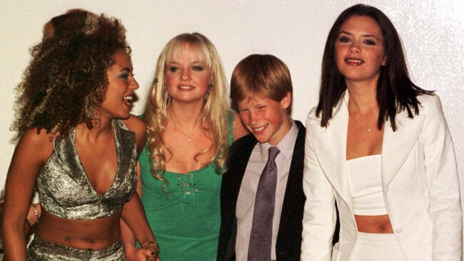 A young Prince Harry with Mel B, Emma and Victoria after attending their concert in Johannesburg, South Africa. Photo: John Stillwell / Getty Images