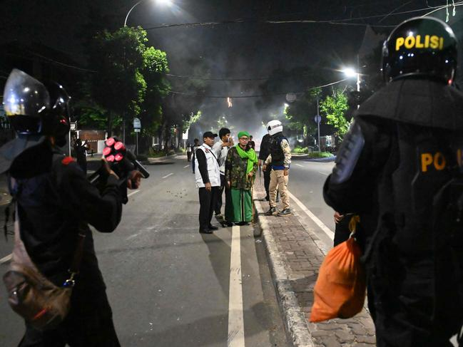 Indonesian police in a standoff with the protesters in Jakarta. Picture: AFP