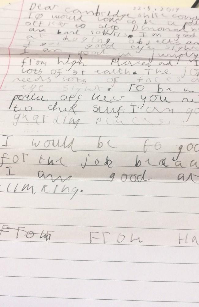 This little boy's note applying to the police force has gone viral. Picture: Facebook/PolicingCambridgeCity