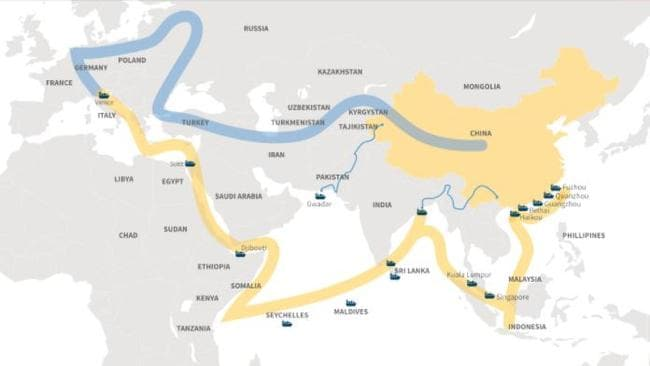 This map details China's One Belt One Road Initiative.