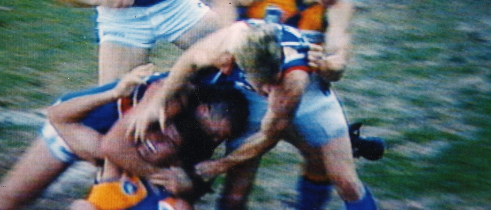 Footballer Danny Southern (bottom l) gets Peter Sumich in headlock during all-in brawl. AFL football - Footscray vs West Coast Eagles match at Subiaco 04 Sep 1994. (Pic: Coutesy Channel Seven)
