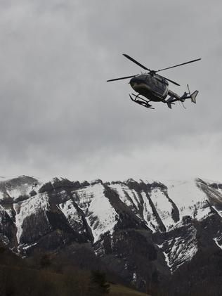 25 March 2015. Seyne-les-Alpes. Helicopters over the area of the crash of Germanwings flight where 150 people died. Pic. Ella Pellegrini