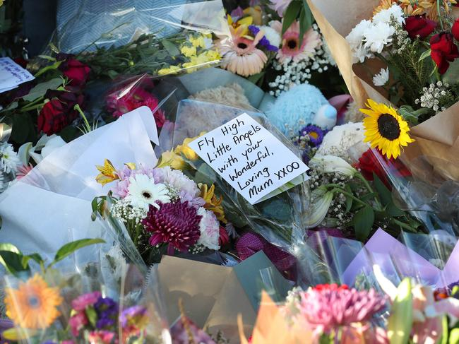 Flowers and tributes have been left for the mother and her three children. Picture: Photographer: Liam Kidston