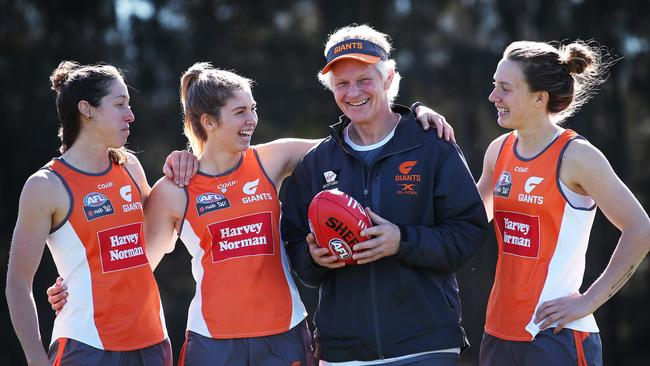 GWS women's head coach Alan McConnell with players Renee Forth, Maddy Collier and Emma Swanson. Picture: Phil Hillyard