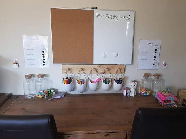 Belinda moved furniture around to create a homework desk stocked with everything the kids will need too. Picture: Belinda Hamson
