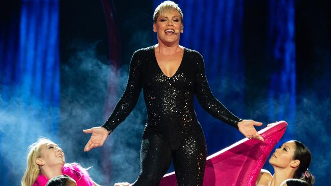 Pink onstage in Perth for her Beautiful Trauma tour. Picture: Richard Wainwright/AAP