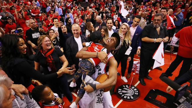 Kyle Lowry celebrates with his sons. Picture: Gregory Shamus/Getty