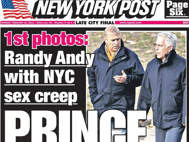 Photos of Prince Andrew and convicted sex offender Jeffrey Epstein were on the cover of the New York Post. Picture: Supplied