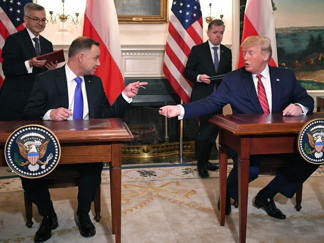 US President Donald Trump and Polish President Andrzej Duda at the White House. Picture: AFP