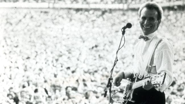 Stadium rock ... Colin Hay works the masses at the peak of Men at Work's popularity. Picture: News Corp