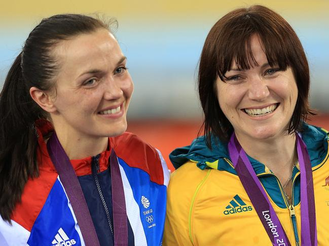 Pendleton with longtime rival Anna Meares of Australia.
