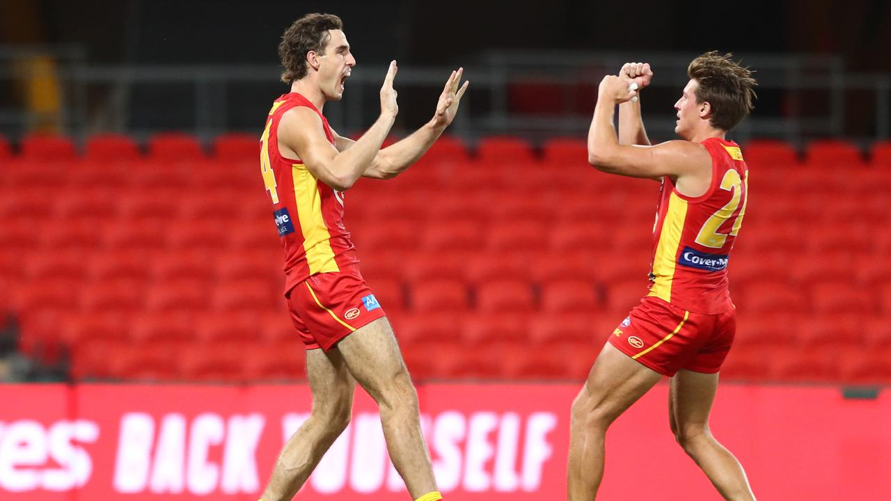 Ben King celebrates a goal with David Swallow on the weekend.