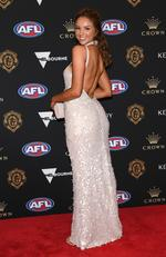Lucy McArthur the partner of Rory Laird of the Crows arrives ahead of the 2019 Brownlow Medal at Crown Palladium on September 23, 2019 in Melbourne, Australia. Picture: Quinn Rooney/Getty Images