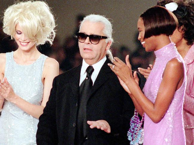 The German fashion designer in 1996 with Claudia Schiffer and Naomi Campbell. Picture: AP