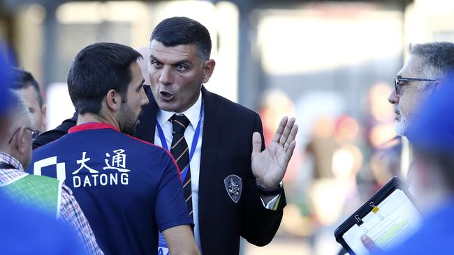 Brisbane Coach John Aloisi after the match. Picture Sarah Reed