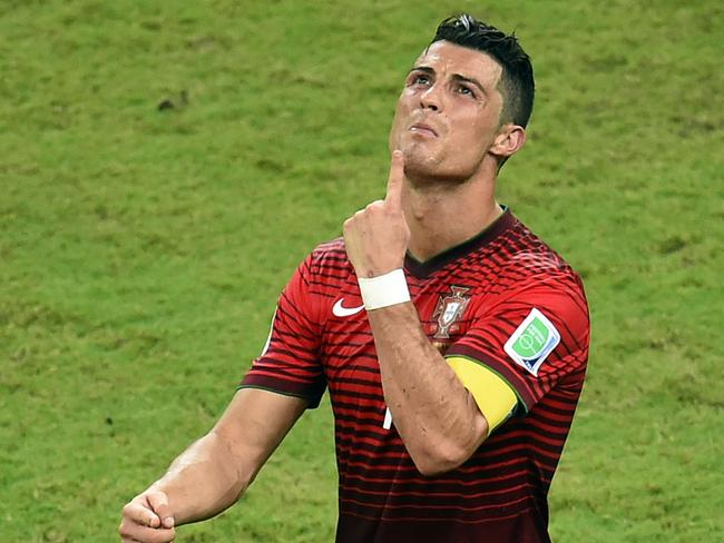 Portugal forward Cristiano Ronaldo reacts during a group G World Cup 2014 match against USA at the Amazonia Arena in Manaus, Brazil.