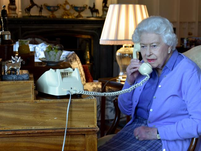 Queen Elizabeth II holding her weekly audience with Britain's Prime Minister Boris Johnson on the phone from Windsor Castle on March 25. Picture: Buckingham Palace