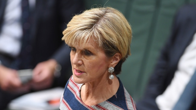 Australia's Foreign Minister Julie Bishop. Photo: AAP Image/Lukas Coch