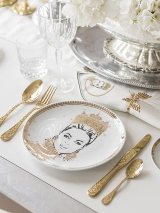 Live like royalty with the Megan Hess limited-edition Kingdom Collection, which includes The Baroque Crown plate, $95.