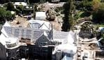 EXCLUSIVE: Aerial photos reveal an an extensive construction project is underway the Playboy Mansion in Los Angeles, California. The iconic landmark was sold to billionaire Daren Metropoulos for $100 million by Hugh Hefner before he died in 2017. It was agreed that the main structure of the residence would be protected. These new renovations appear extensive with the roof covered in plastic and all the landscaping gone. The infamous grotto, which was the epicenter of Hefner's legendary parties, appears to have been drained. Despite LA being on lockdown as the coronavirus pandemic sweeps the globe, plenty of workers were seen continuing the job with over 20 vehicles parked at the property. Pictured: Playboy Mansion Ref: SPL5160957 070420 EXCLUSIVE Picture by: SplashNews.com Splash News and Pictures USA: +1 310-525-5808 London: +44 (0)20 8126 1009 Berlin: +49 175 3764 166 photodesk@splashnews.com World Rights