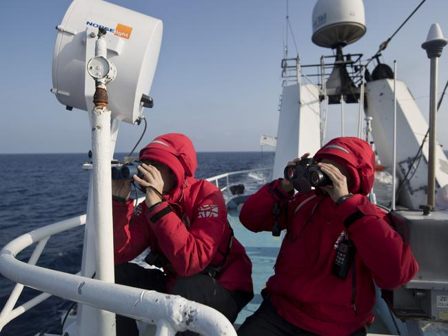 Proactiva Open Arms crew conduct a search and rescue operation in the Mediterranean Sea, 14 nautical miles from the Libyan coast. Picture: AP Photo/Bernat Armangue