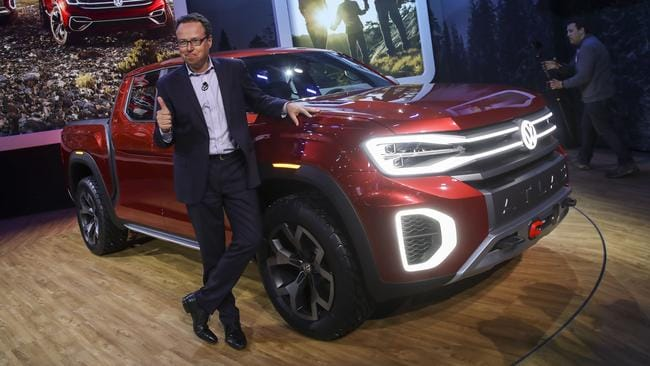 VW USA chief executive Hinrich Woebcken with the Tanoak pick-up concept. Picture: Getty Images.