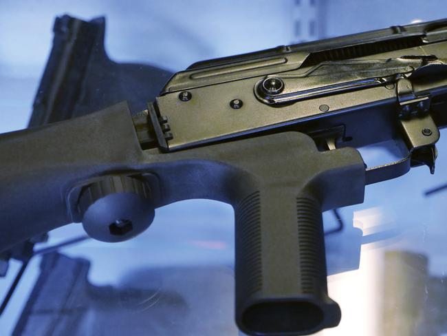 """A little-known device called a """"bump stock"""" attached to a semi-automatic rifle. Las Vegas shooter Stephen Paddock bought 33 guns within the last year, and used bump stocks in the attack. Picture: AP"""