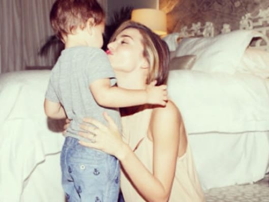 Kerr with first born son Flynn Bloom. Picture: Instagram/@mirandakerr
