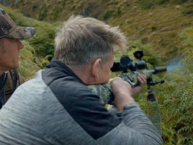 Gordon Ramsay in the controversial scene from his TV show, Unchartered. Picture: Uncharted/National Geographic