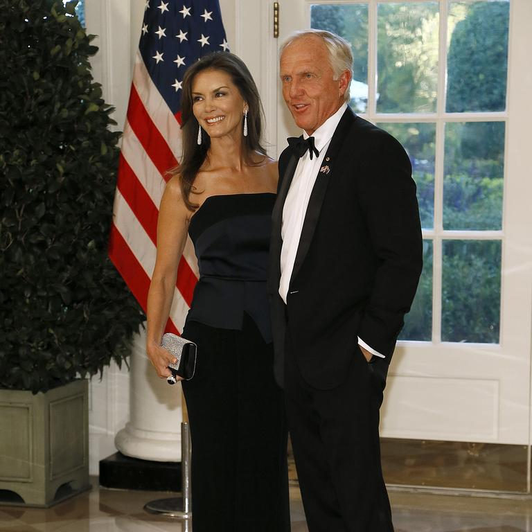 Greg Norman and his wife Kirsten Kutner arrive for the State Dinner at The White House honouring Australian PM Scott Morrison on September 20, 2019 in Washington, DC. (Photo by Paul Morigi/Getty Images)