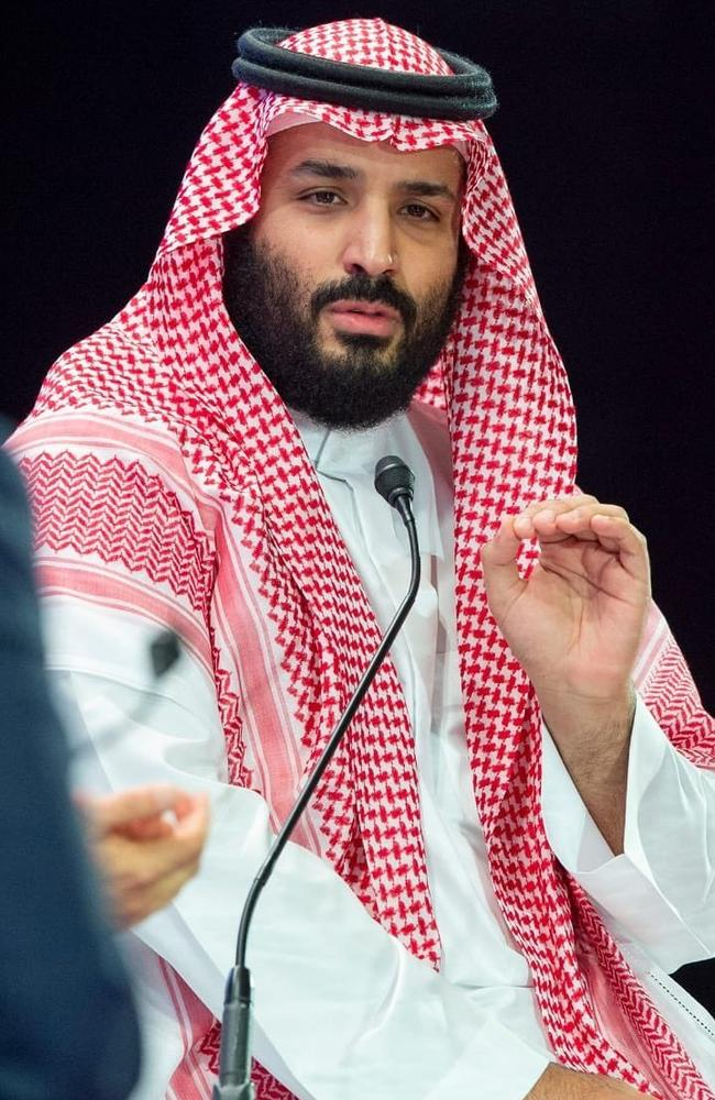 Saudi Crown Prince Mohammed bin Salman speaks for the first time in public since Jamal Khashoggi's murder. Picture: AP