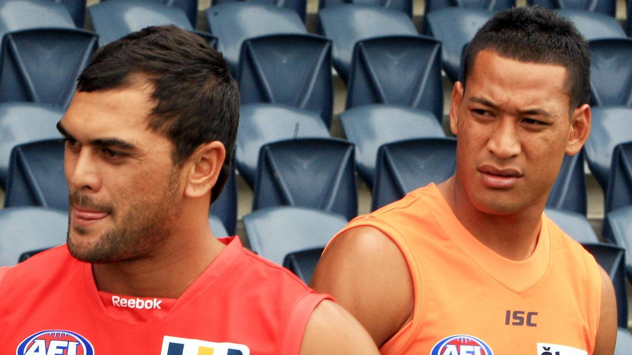 Code-switching AFL signees Karmichael Hunt and Israel Folau.