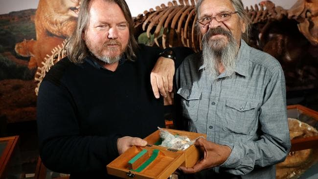 South Australian Museum Honorary Research Associate Giles Hamm and Cliff Coulthard were both involved in finding artifacts from the Warratyi Rock Shelter in the Flinders Ranges. Picture: Calum Robertson