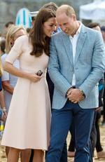 Catherine Duchess of Cambridge and Prince William, Duke of Cambridge watches a demonstration by a surf lifesaving club on Towan Beach during a royal visit to Cornwall on September 1, 2016 in Newquay, United Kingdom. Picture: Getty