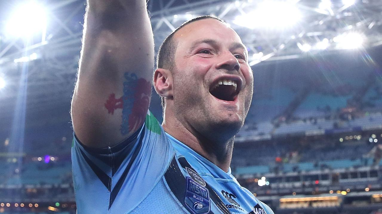 Boyd Cordner of the Blues celebrates victory after game two of the State of Origin series. (Photo by Mark Kolbe/Getty Images)