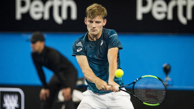 David Goffin in action against Alexander Zverev at the Hopman Cup.