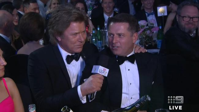 Richard Wilkins and Karl Stefanovic during the 2019 Logies. Picture: Nine