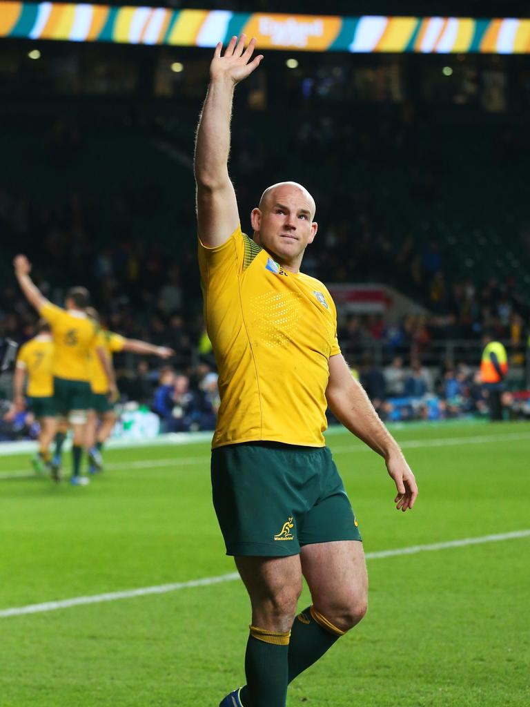 Stephen Moore of Australia celebrates after winning the 2015 Rugby World Cup semi-final.