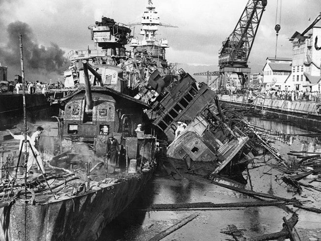 USS Cassin and Downes wrecked at Pearl harbour, 7 December 1941.