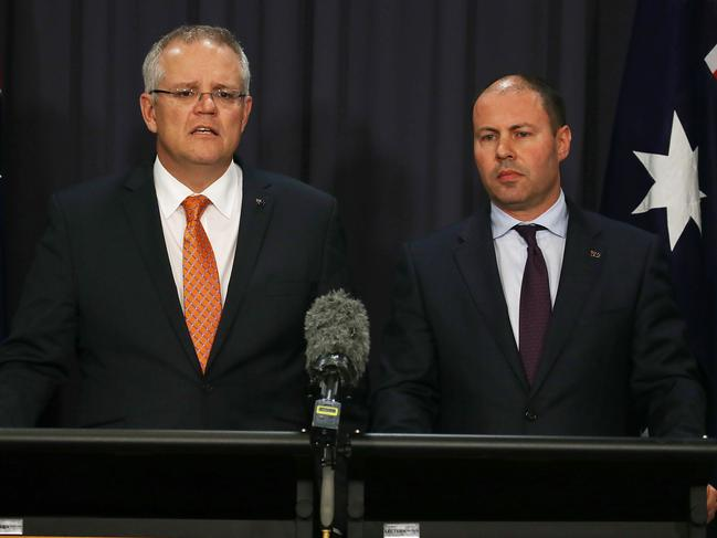 Scott Morrison and Josh Frydenberg have changed the leadership rules of the Liberal Party. Picture: Gary Ramage