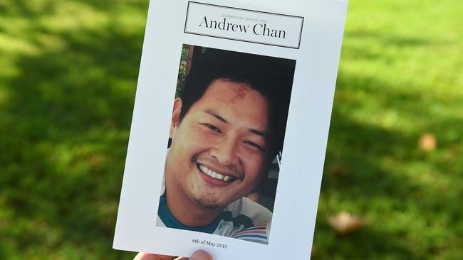 The order of sevice booklet handed to mourners at the funeral of Andrew Chan.