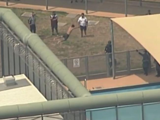 One of the inmates jumped off the roof into the pool. Picture: Nine News/Channel 9