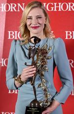 "Cate Blanchett poses backstage with the Desert Palm achievement award - actress for ""Carol"" at the 27th annual Palm Springs International Film Festival Awards Gala on Saturday, Jan. 2, 2016, in Palm Springs, Calif. Picture: Jordan Strauss/Invision/AP"