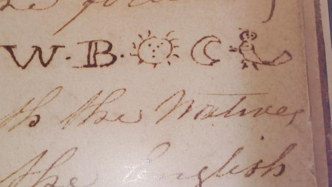 Symbols of a sun, moon, a bird and the letter W.B. from an account of convict William Buckley's distinctive tattoo, which identified him as a British immigrant when he was discovered living with an Aboriginal tribe in 1835.