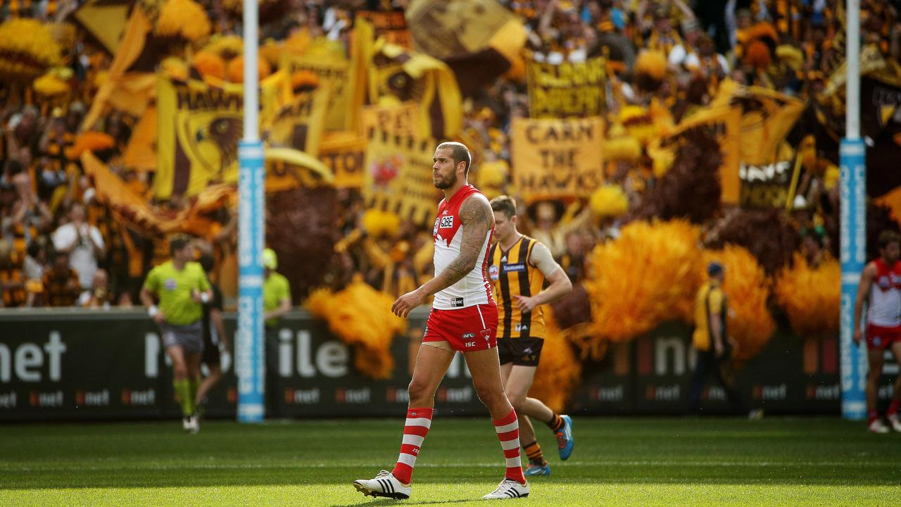 Lance Franklin and the Swans fell to the Hawks in the 2014 Grand Final. Photo: Colleen Petch.